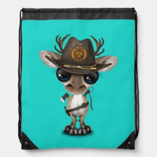 Baby Reindeer Zombie Hunter Drawstring Bag