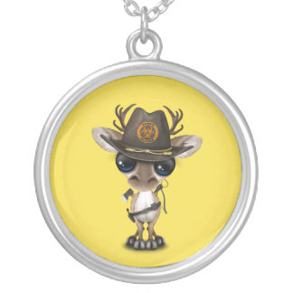 Baby Reindeer Zombie Hunter Silver Plated Necklace