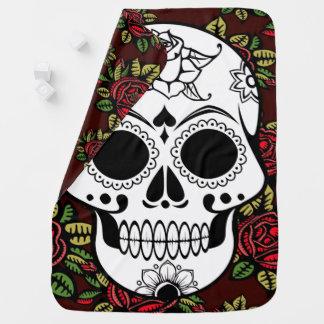 Baby retro skull roses blankie Receiving Blanket