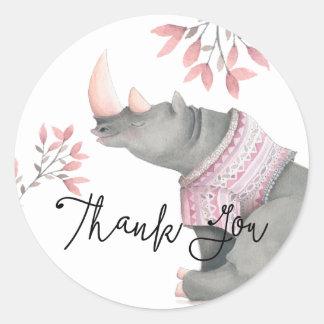 Baby Rhinoceros & Birdies Painted Thank You Round Sticker