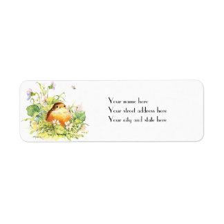Baby Robin with Violets Return Address Label