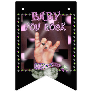 BABY ROCK CARTOON Party Bunting Banner 2