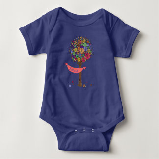 Baby Romper Color Tree Banner Birdies Baby Name Baby Bodysuit