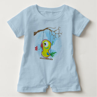 Baby Romper, Light Blue with parrot Baby Bodysuit