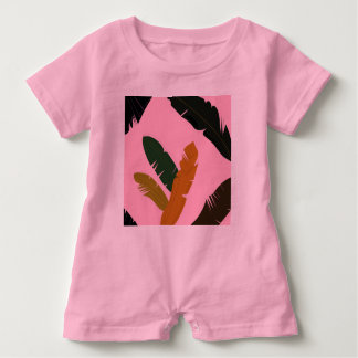 Baby Romper PINK with Exotic hand-drawn Leaves Baby Bodysuit
