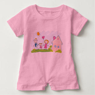 Baby Romper PINK with hand-drawn Family art Baby Bodysuit