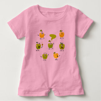 Baby Romper with green cute amazing Apples Baby Bodysuit