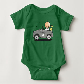 Baby rompertje with baby in staircase car baby bodysuit