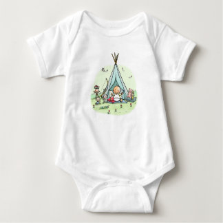 Baby rompertje with baby in tepee tent baby bodysuit