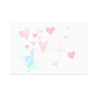 """Baby room I love Mommy Pink Blue 12"""" x 12"""", 1.5"""" Canvas Print"""