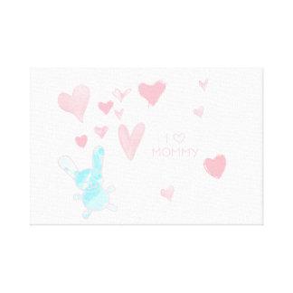 "Baby room I love Mummy Pink Blue 12"" x 12"", 1.5"" Canvas Print"