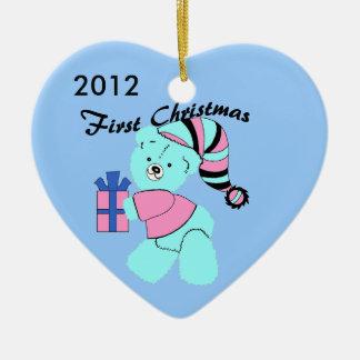 Baby s First Christmas Blue Teddy bear Ornament