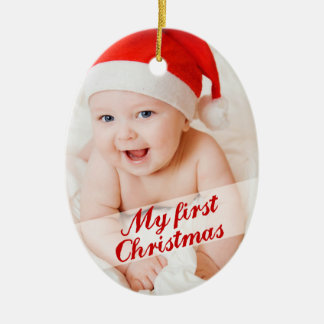 Baby s First Christmas Cursive Holiday Photo Christmas Ornament