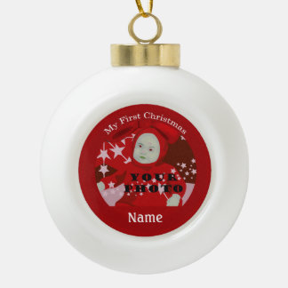 Baby s First Christmas Custom Photo Ball Ornament