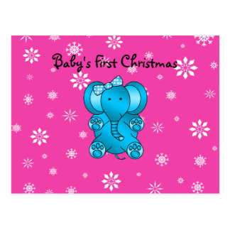 Baby s first christmas elephant pink snowflakes postcard