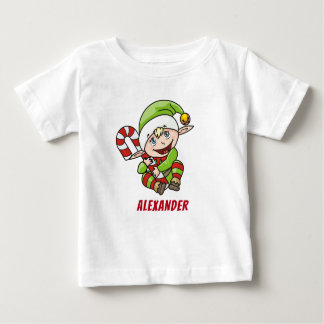 Baby`s First Christmas Elf Candy Cane Baby T-Shirt