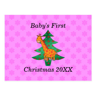 Baby s first christmas giraffe pink snowflakes postcards