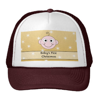 Baby s First Christmas On Gold Color background Mesh Hat