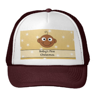 Baby s First Christmas On Gold Color Background Trucker Hat