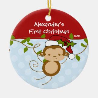 Baby s First Christmas Ornament Boy Santa Monkey