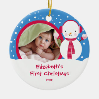 Baby s First Christmas Photo Ornament Snowman