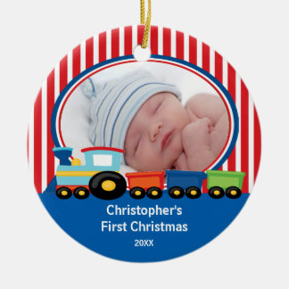 Baby s First Christmas Photo Ornament Train Boy