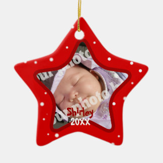 Baby s First Christmas Red Photo Frame Star Pic Christmas Ornament