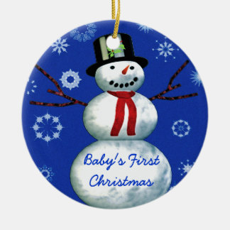 Baby s First Christmas Snowman Date customizable Christmas Tree Ornaments
