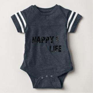 Baby's Nappy Life Football Bodysuit w/Black Logo.