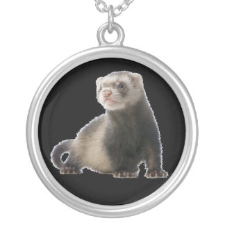 baby sable ferret silver plated necklace
