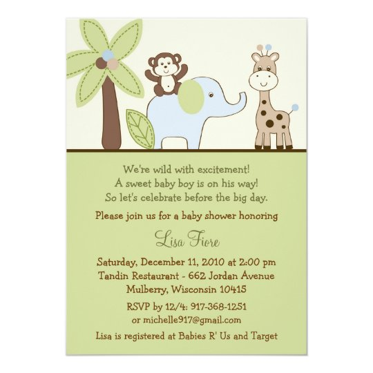 Baby Safari Jungle Animal Baby Shower Invitations