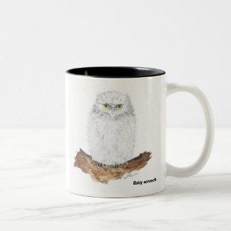 baby screech owl, Baby screech Two-Tone Coffee Mug