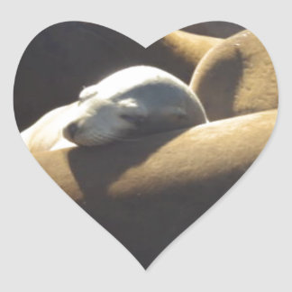 Baby Sea Lion Sleeping Heart Sticker