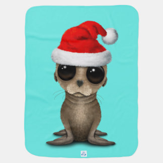 Baby Sea Lion Wearing a Santa Hat Baby Blanket