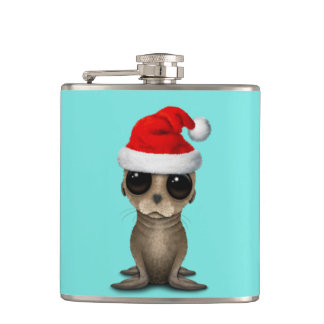 Baby Sea Lion Wearing a Santa Hat Hip Flask