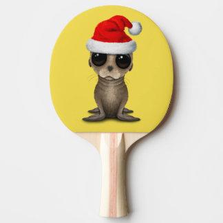 Baby Sea Lion Wearing a Santa Hat Ping Pong Paddle