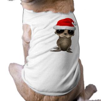 Baby Sea Lion Wearing a Santa Hat Shirt
