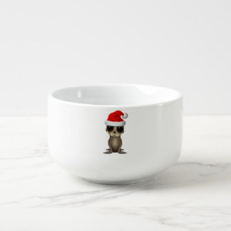 Baby Sea Lion Wearing a Santa Hat Soup Mug