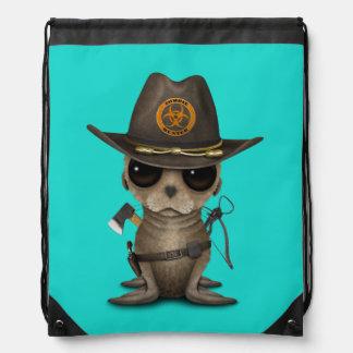 Baby Sea lion Zombie Hunter Drawstring Bag