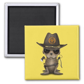 Baby Sea lion Zombie Hunter Magnet