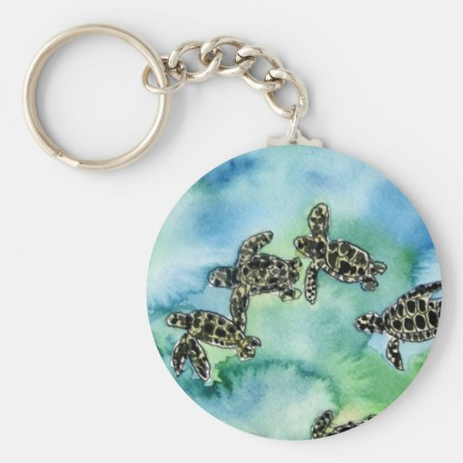 baby sea turtles reptile animal wildlife painting key chains