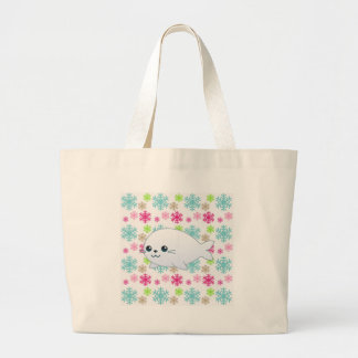 Baby Seal & Color Snowflakes Large Tote Bag