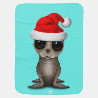 Baby Seal Wearing a Santa Hat Baby Blanket