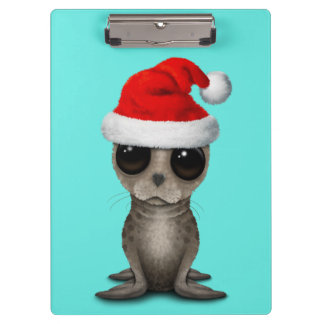 Baby Seal Wearing a Santa Hat Clipboard