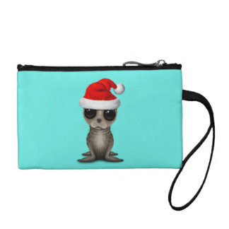 Baby Seal Wearing a Santa Hat Coin Purse