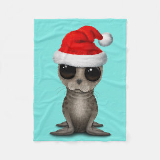 Baby Seal Wearing a Santa Hat Fleece Blanket