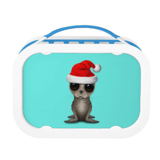 Baby Seal Wearing a Santa Hat Lunch Box