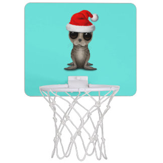 Baby Seal Wearing a Santa Hat Mini Basketball Hoop