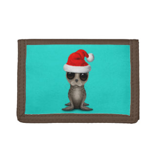 Baby Seal Wearing a Santa Hat Tri-fold Wallet