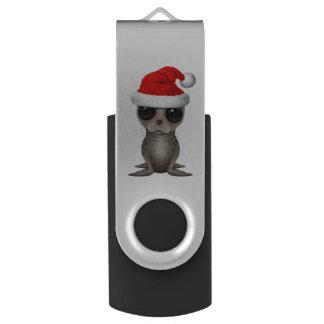 Baby Seal Wearing a Santa Hat USB Flash Drive